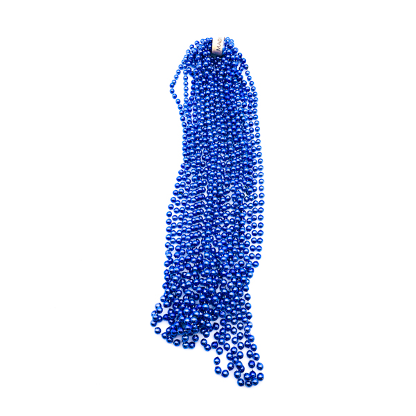 "48"" 12mm Round Throw Beads - Blue"