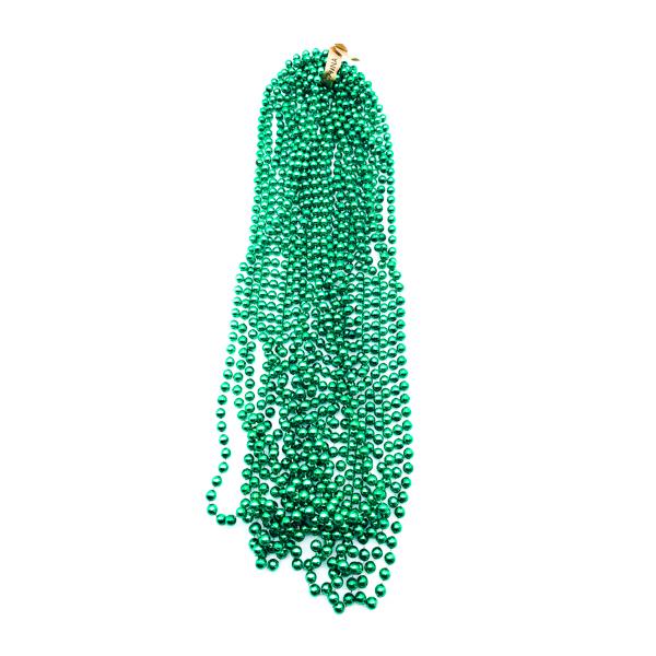 "48"" 12mm Round Throw Beads - Green"