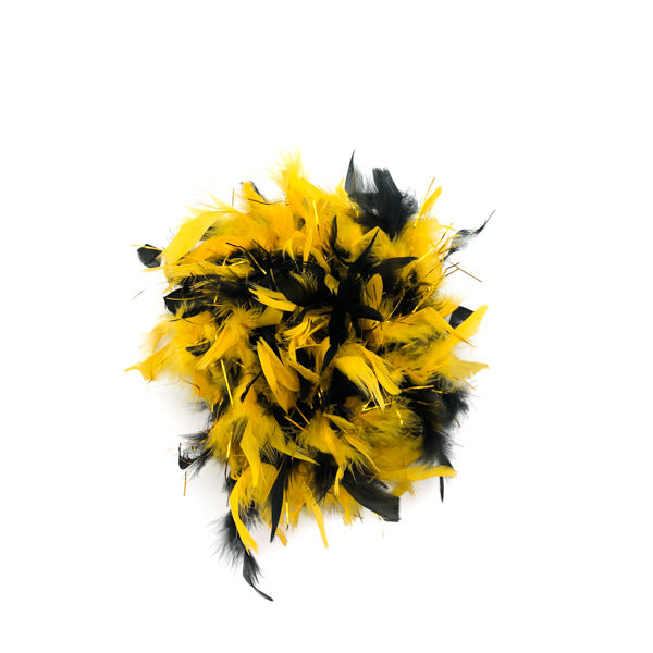 Black And Gold Mix With Gold Tinsel Feather Boa
