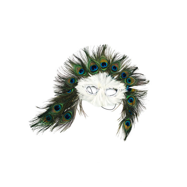 Peacock White Feather Mask