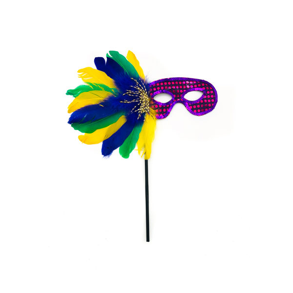 Purple Face Stick Mask With Purple, Green & Gold Feathers