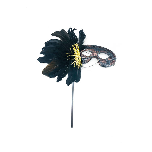 Black Face Stick Mask With Black Feathers & Gold Tassles