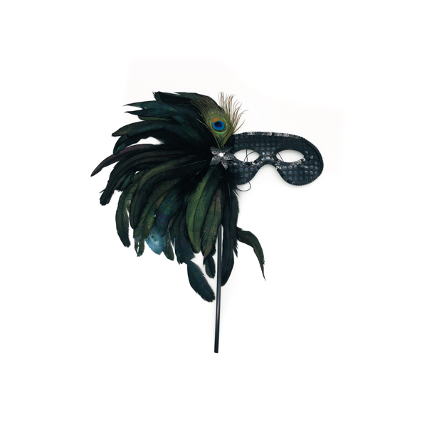 Black Face Stick Mask With Peacock Feathers
