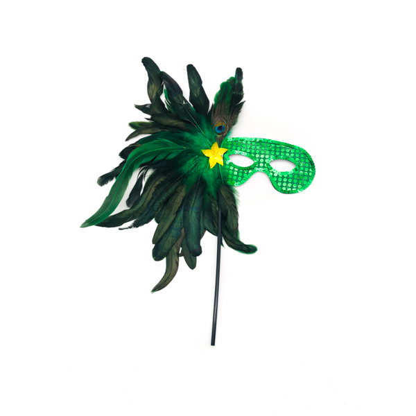 Green Face Stick Mask With Star Feathers