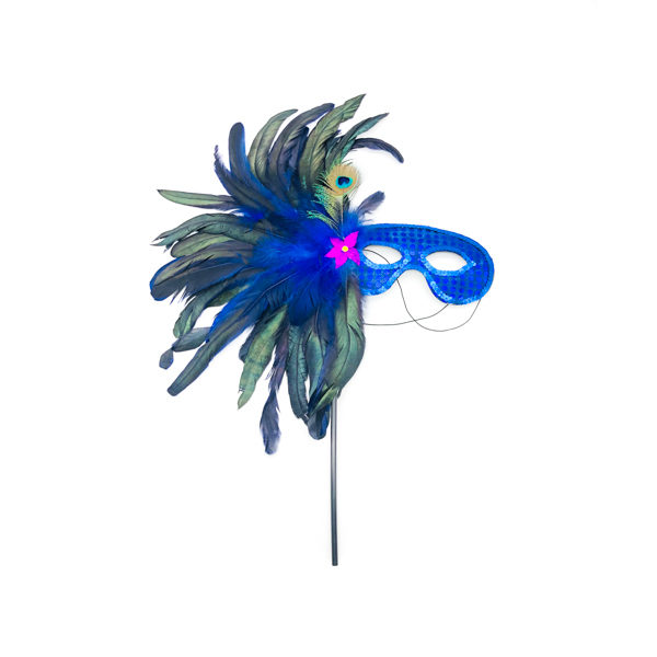 Blue Face Stick Mask With Peacock Feathers
