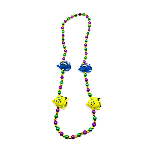Fish Blue Yellow – Purple, Green & Gold Bead