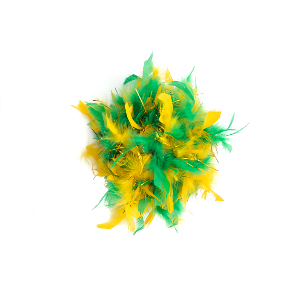 Gold And Green Mix With Gold Tinsel Feather Boa