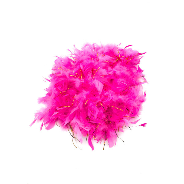 Hot Pink With Gold Tinsel Feather Boa