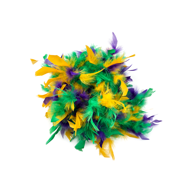 Mardi Gras Mix With Gold Tinsel Feather Boa