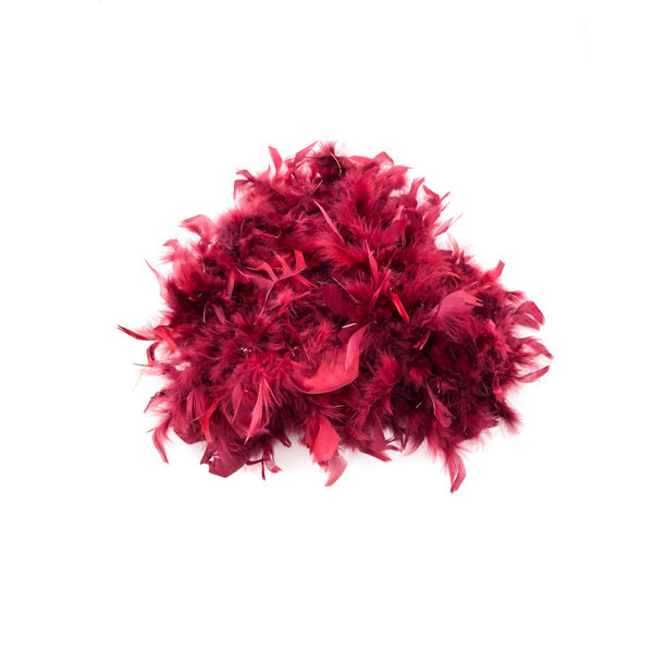 Maroon With Silver Tinsel Feather Boa