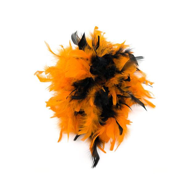 Orange And Black Mix Feather Boa