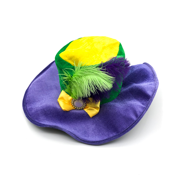 Feather Hat - Purple, Green & Gold