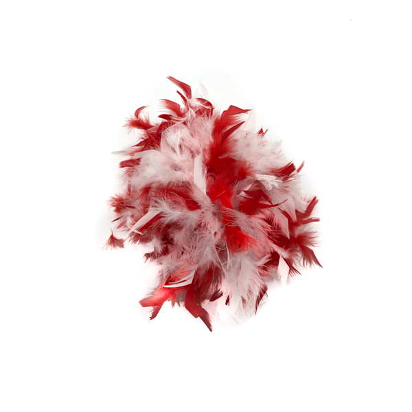 Red And White Mix Feather Boa