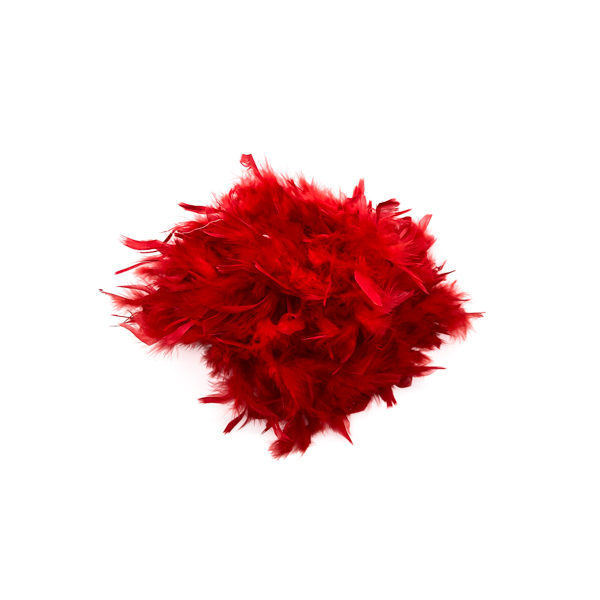 Red With Gold Tinsel Feather Boa