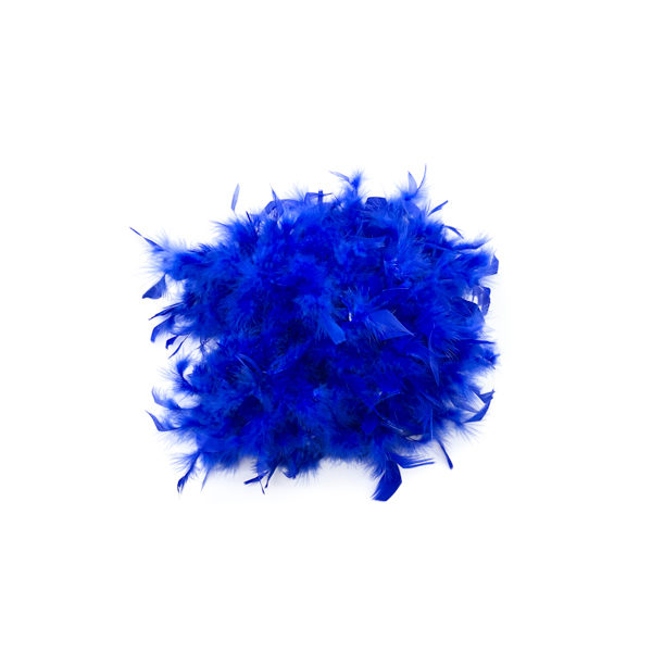 Royal Blue With Gold Tinsel Feather Boa