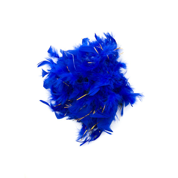 Royal Blue With Silver Tinsel Feather Boa