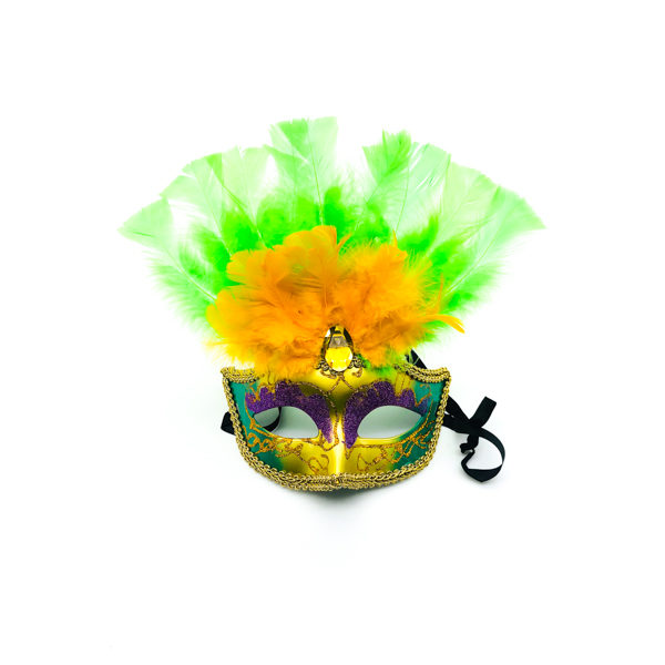 Purple, Green & Gold Face With Green & Gold Feathers – Venetian Mask