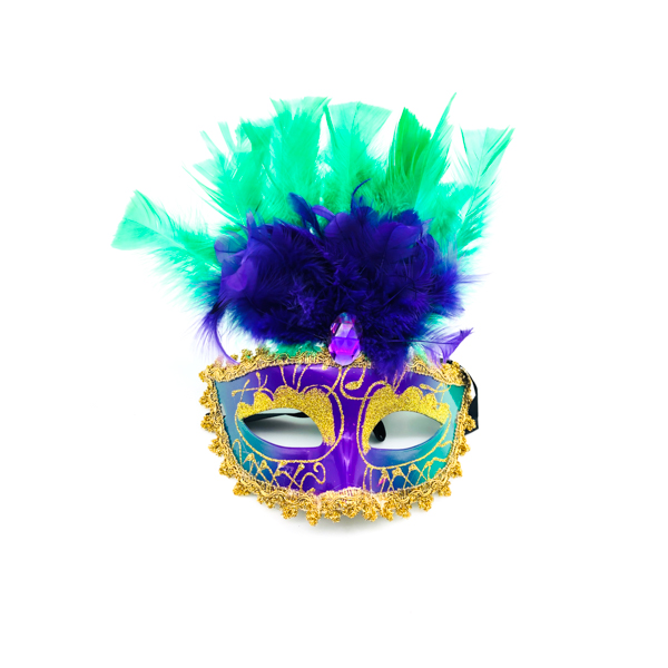 Purple, Green & Gold Face With Green & Purple Feathers – Venetian Mask