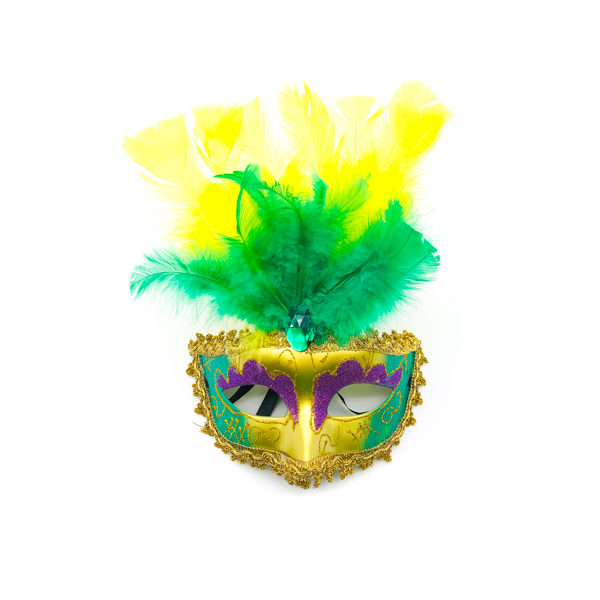 Purple, Green & Gold Face With Yellow & Green Feathers – Venetian Mask