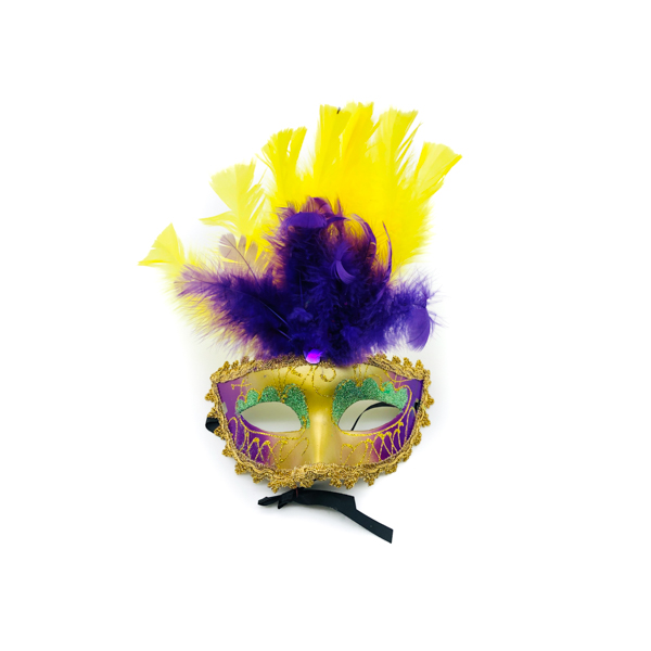Purple, Green & Gold Face With Yellow & Purple Feathers – Venetian Mask