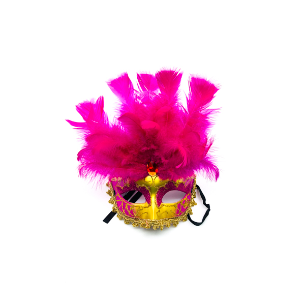 Hot Pink Face & Feathers – Venetian Mask
