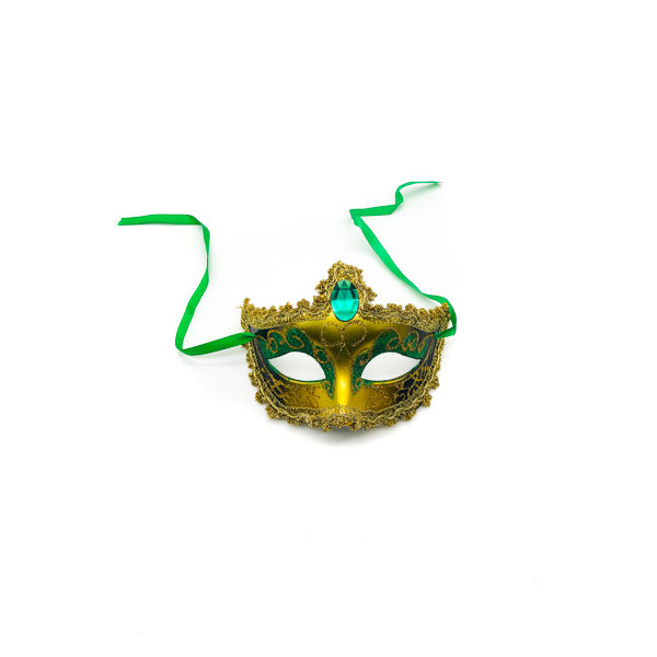 Green & Gold Diamond – Venetian Mask