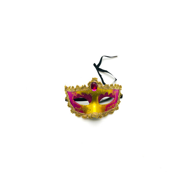 Hot Pink & Gold Diamond – Venetian Mask