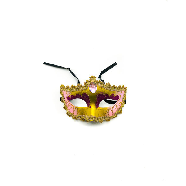 Light Pink & Gold Diamond – Venetian Mask