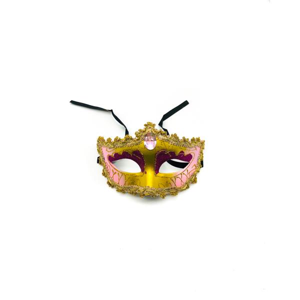 Light Pink & Gold Diamond – Venetian Mask