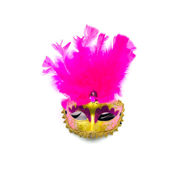Light Pink Face Hot Pink Feathers – Venetian Mask